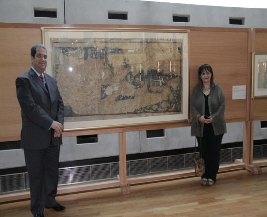 Haidy and Medhat Donating a Rare Map to the Library of Alexandria